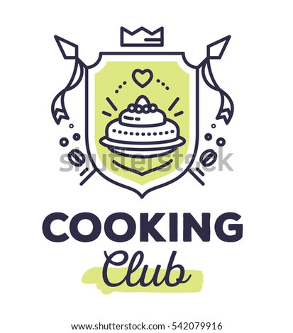 Vector linear green heraldry coat of arms with flags. Vintage royal heraldic shield with crown and cake on white background with title cooking club. Thin line art modern design for logo, web, site