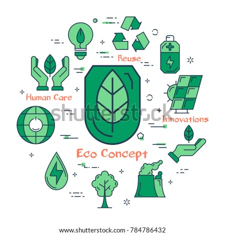 Vector linear green round Eco concept. Line icons of leaf, ecology, energy saving lamp bulb and reusing symbol