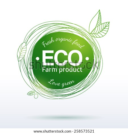 Vector linear hand drawing label for organic farm and healthy food. Natural product logo, banner or sticker design elements. Sketch food and drink sticker. Farm offer.