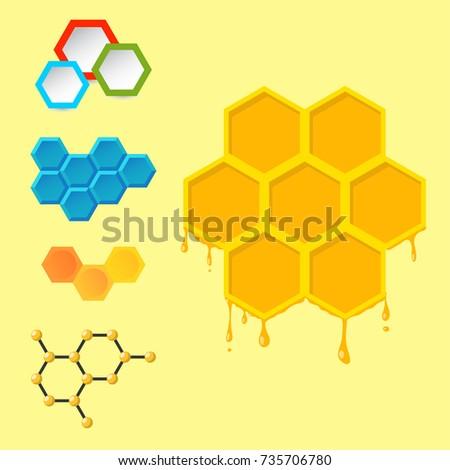 Vector linear hexagon design elements different honeycombs abstract geometric modern business technologies.