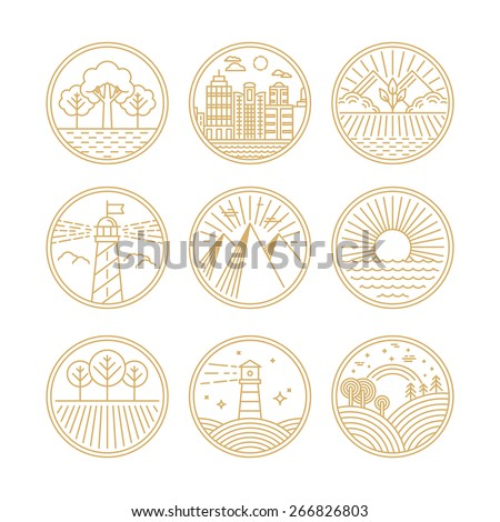 Vector linear icons and logo design elements with landscapes - travel concepts