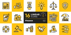 Vector linear icons set of finance, banking. High quality modern icons suitable for print, website and presentation