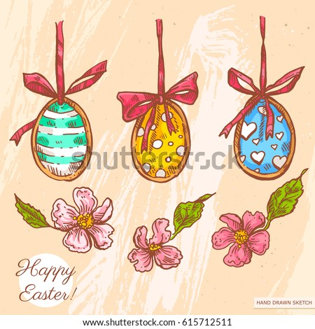 Vector linear illustration of easter eggs hanging on a ribbon with bows, blooming flowers. Hand drawn sketch with text Happy Easter on background with abstract paper texture. Image in vintage style.