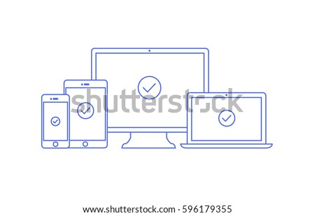 Vector linear illustration of four devices for responsive web programming. Computer laptop tablet and phone in outline flat style