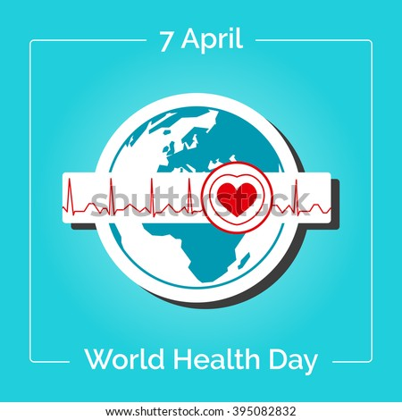 Vector linear illustration. Poster for 7 April, World Health Day. The Earth in blue and white colors in flat style. Globe and normal cardiogram as a concept for World Health Day. Healthy planet.