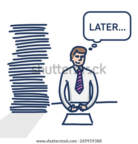 vector linear illustration procrastination businessman which delay his work for later   modern flat design colorful cartoon icon isolated on white background Сток-фото ©