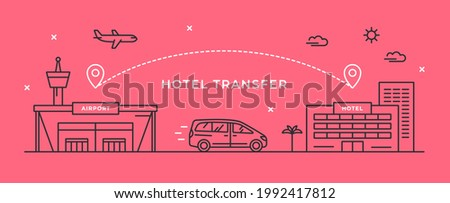 Vector linear illustration with airport building, hotel and minivan. Transfer from the airport to the hotel. Concept for travel and transport business, taxi service. Outline icons. Internet banner.