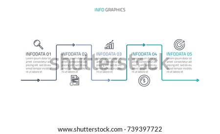 vector linear infographic template. Timeline process with 5 options and marketing icons.Vector illustration