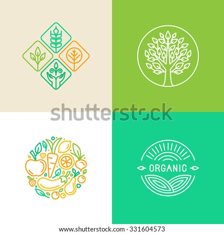 Vector linear logo design template and badges - organic food and farming - green and vegan food concepts