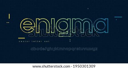 Vector linear lowercase letter set, alphabet, font, typography.