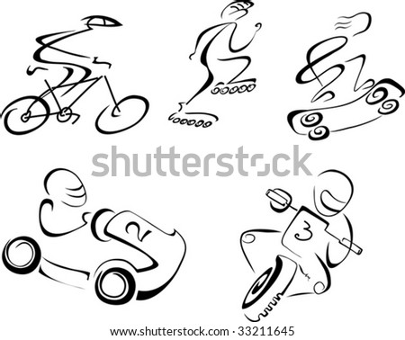 Vector linear monochrome illustration of speedy sports - carting, motorbiking, cycling, skateboarding, roller skating.  Isolated on white background.