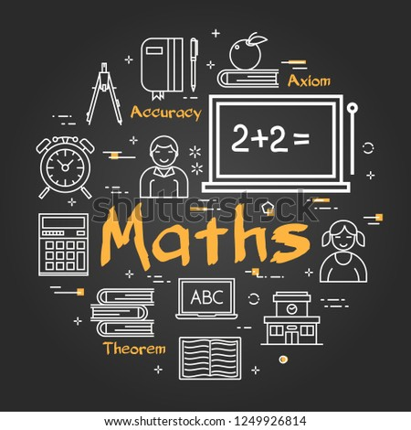 Vector linear round concept of Maths School Subject. Line icons of textbooks, a board with equations, students, theorems on black chalkboard background