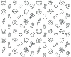 Vector linear seamless pattern, hand drawn doodle design. Concept for pet shops or veterinary clinics, isolated on white background