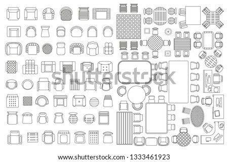 Vector linear set. Interior icon chair, armchairs, table. Top view. Outline symbol for dining room, office, cafe, kitchen and living room.