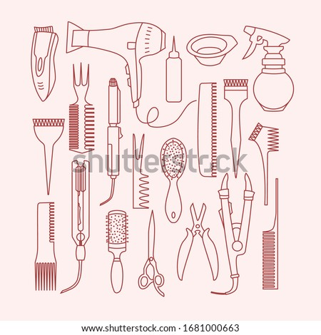 Vector linear set with hairdresser tools isolated on white background. Handraw doodle style. Different professional combs, hair dryer. Object for hairdresser. Hairstyle concept. Beauty routine.