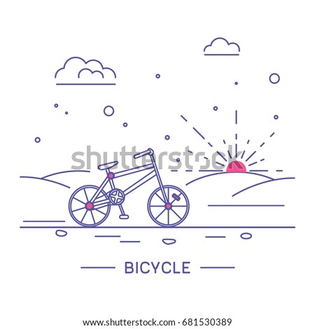 Vector linear style illustration with vehicles. Bicycle.