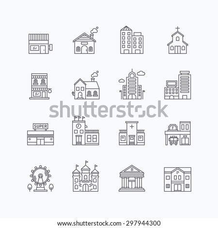 vector linear web icons set