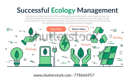 Vector linear web site header template of Successful Ecology Management. Horizontal banner on white background with outline icons of Ecology, eco system, future technology of saving esources