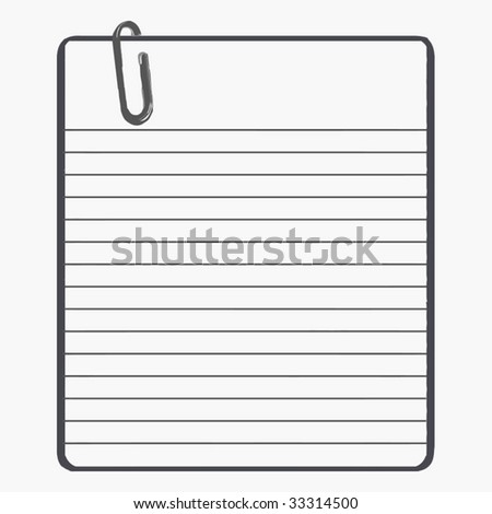 stock vector : Vector Lined Paper With Paper Clip