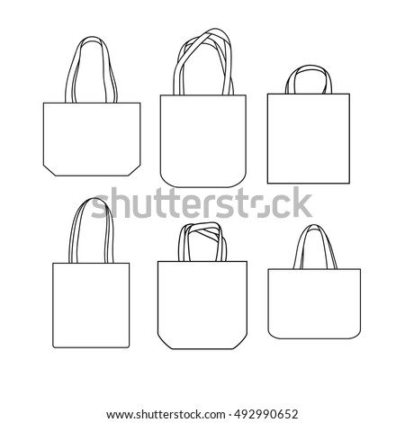 Vector linen set of canvas bags