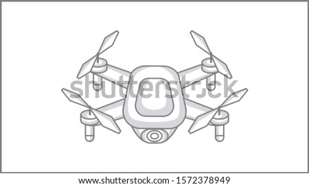 Vector Liner Quadro copter icon. Liner Drone Illustration. Vector Drone with Camera Drawing. Foto stock ©
