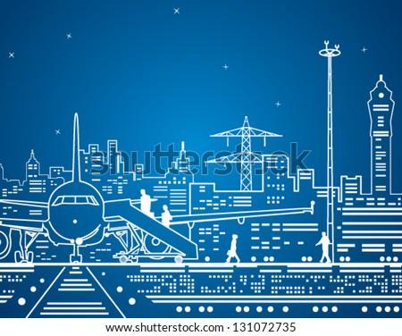 Vector lines airport, neon terminal, city infrastructure, vector design