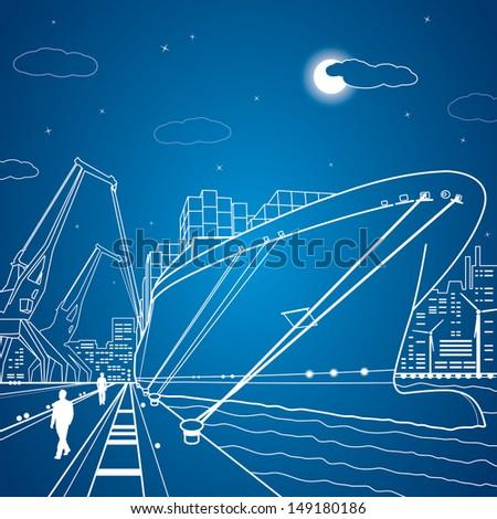 vector lines cargo ship  ship