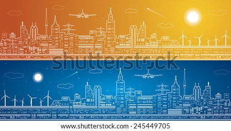 vector lines city panorama