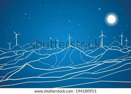 Vector lines, ecology, mountains landscape, windmills
