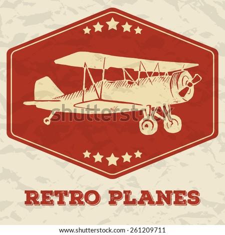 vector linocut vintage airplane