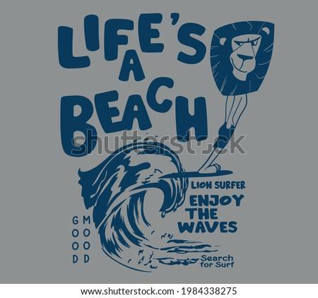 vector lion surfer comic illustration for t shirt print Сток-фото ©