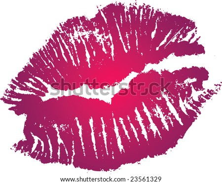 lipstick kiss tattoo. pink lipstick kiss. vector