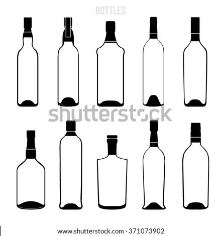 vector liqueur bottle icons