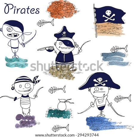 vector  little funny pirates on