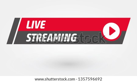 Vector Live Stream, Live Icon Flat Style with Play Button Isolated on Transparent Background for Blog, Player, Broadcast, Website, Online Radio, Media Labels, Logo. Live Stream Banner. - Vector