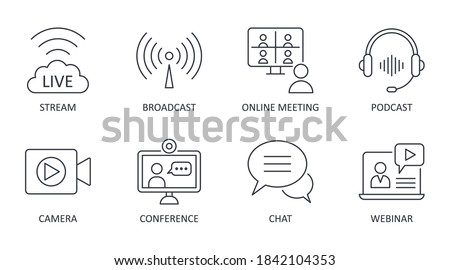 Vector live streaming icons. Set is editable stroke. Stream broadcast online meeting zoom. Podcast headphones camera internet conference chat recording a webinar.