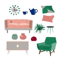 vector living room furniture mood board. interior design. modern, trendy colors. Home house decor elements collection.