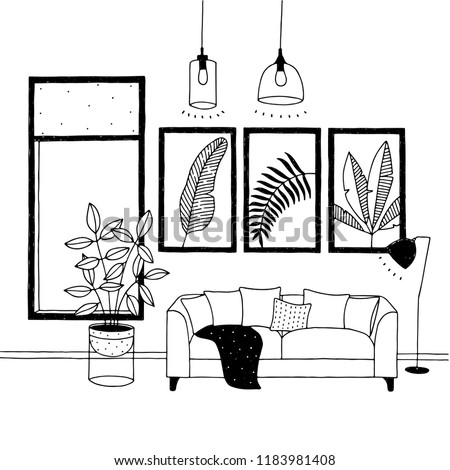 vector living room with sofa
