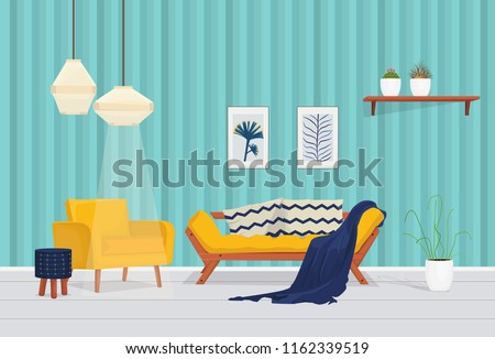 Vector living room / Yellow sofa with Navy blue pillows in living room interior with plants, Yellow sofa and poster. Illustration.