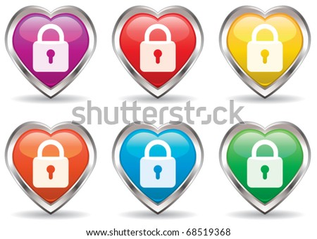 vector lock in the heart icon set