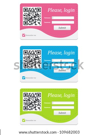 Vector login badge with QR code in three colors