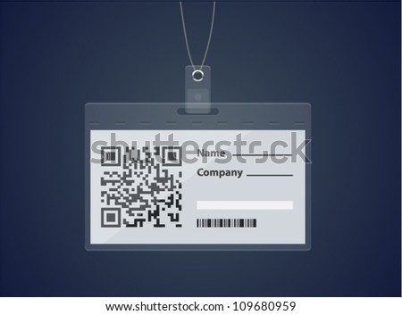 Vector login form in a shape of badge with QR code