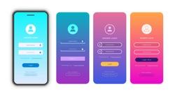Vector login form page template set on trendy gradient background for app development, smartphone mockups, website ui elements, online login form, registration, user profile, access to account. 10 eps