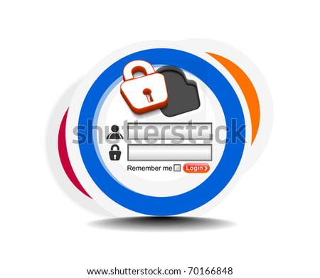 Vector login password, security window screen, web form templates.
