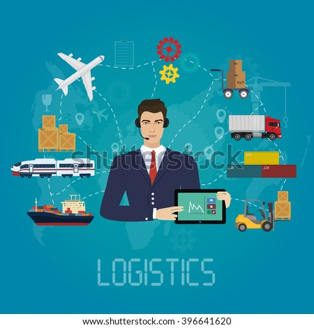 Vector logistics manager agent concept. Delivery cargo vector service illustration.