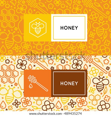 Vector logo and packaging design templates in trendy linear style - natural and farm honey packaging - labels and tags with floral seamless patterns