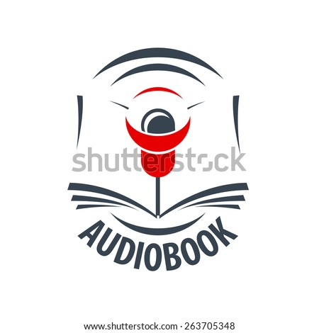 vector logo audio book with a red speaker