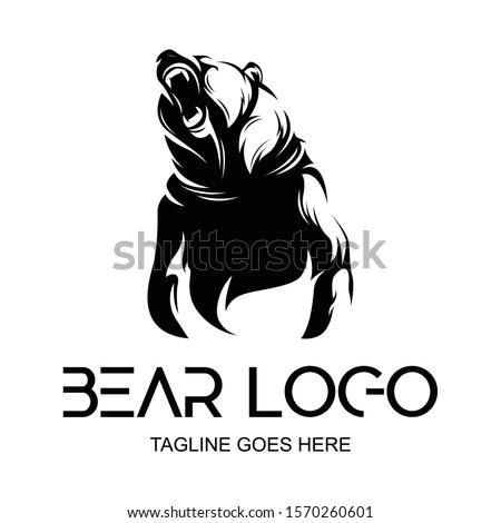 vector logo black grizzly bear silhouette.roaring bear. logo, icon, template background Stock fotó ©