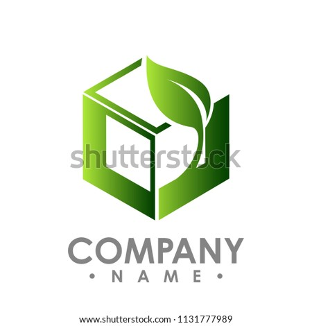 vector logo concept illustration. Leafs and square logo. Abstract sign. Vector logo template. Design element.