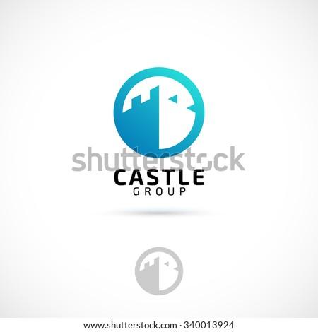 Vector logo design, castle in circle symbol icon. Logotype template. stock photo